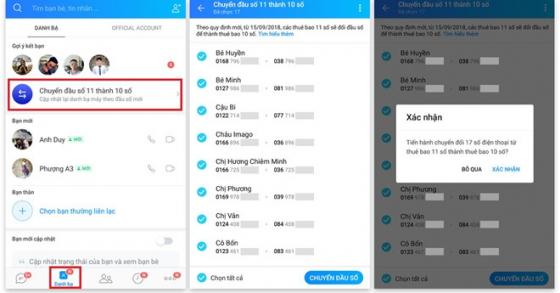 Tự động cập nhật danh bạ 10 số mà không cần tải thêm ứng dụng