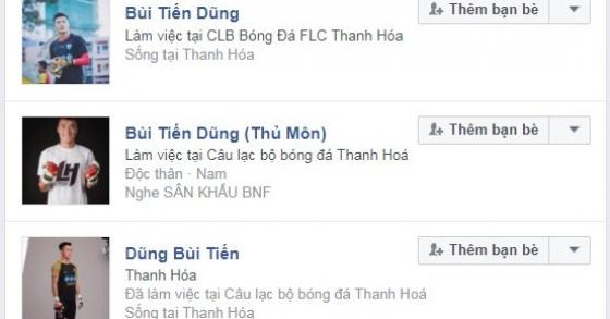Xuất hiện nhiều tài khoản Facebook giả thủ môn Bùi Tiến Dũng